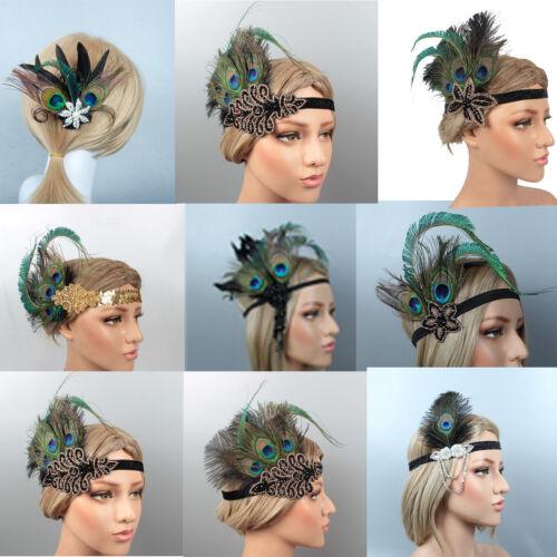 Peacock Feather Flapper Headband 1920s Great Gatsby Headdress Vintage