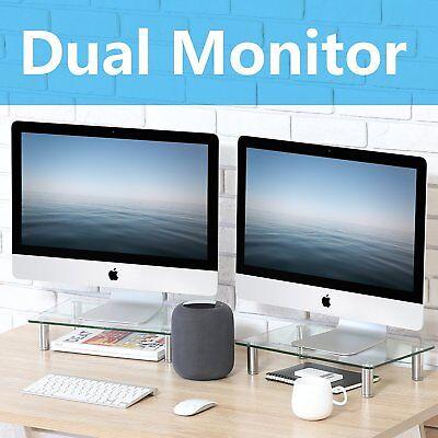 FITUEYES Clear Glass Corner Computer Monitor TV Screen Riser Shelf, 2 Pack ()