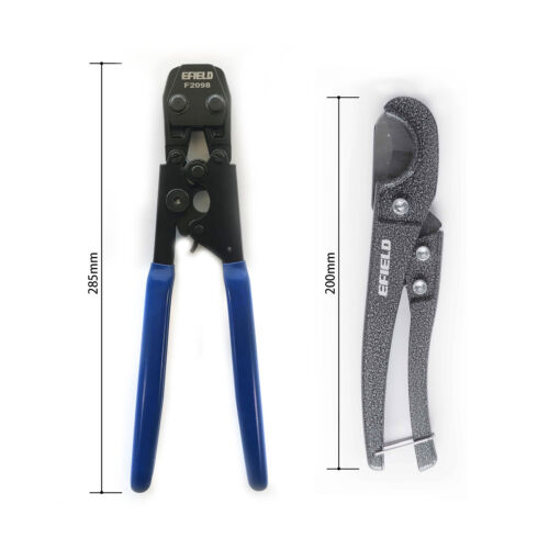 PEX Cinch Crimp Crimper Crimping TOOL for SS Hose Clamps Sizes with Pipe Cutter