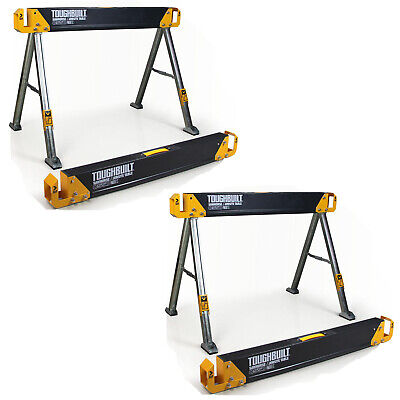 """TOUGHBUILT 2-Pack 42.4"""" Steel Sawhorse and Jobsite Table Pair 2200 lb. Capacity"""