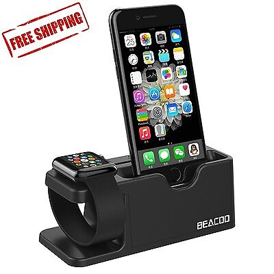 Black Apple Watch Stand Charge Station For iPhone iWatch Dock Holder 38mm / 42mm