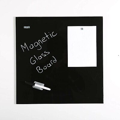 Magnetic Dry Erase Tempered Glass Write Board Set Black 15.75 X 23.63