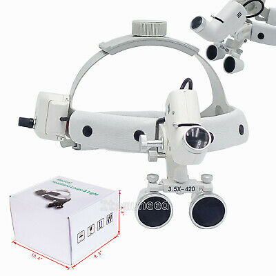 3.5x Medical Surgical Dental Binocular Loupes Headband Magnifier Led Headlight
