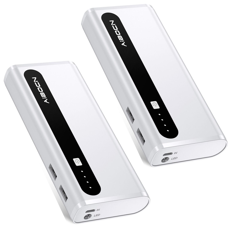2x Aibocn 10000mAh USB Portable Power Bank Battery Charger F