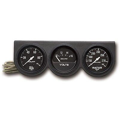 """AutoMeter 2398 Autogage Black 2-5/8"""" Oil/Volt/Water Black Console Kit"""