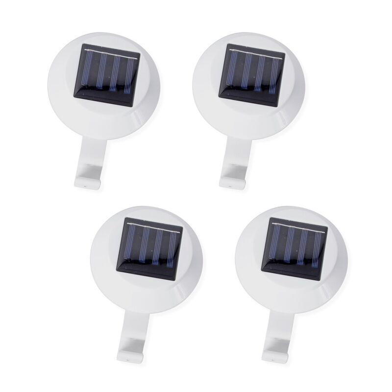 Set of 4 Black White Solar Gutter LED Lights Using Solar Charge Patio Decor