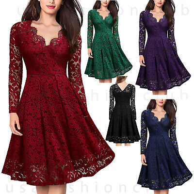 Women's Vintage Lace V Neck Formal Wedding Cocktail Evening Party Swing Dress