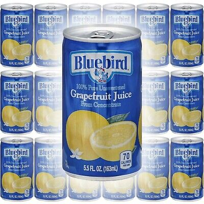 Bluebird Grapefruit Juice, Pure Unsweetened, From Concentrate, 5.5oz Mini Can...