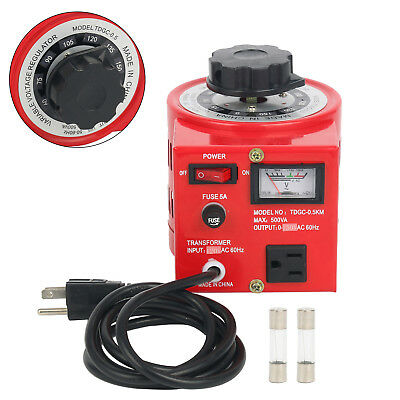 Auto Transformer Ac Variable Voltage Regulator Metered 500w 500va 0-130v