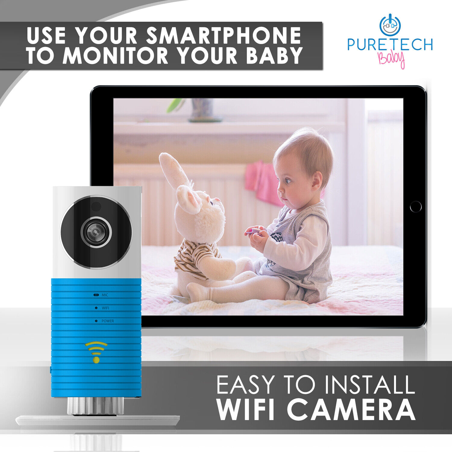 Video Baby Monitor Camera Compatible With iPhone & Android.
