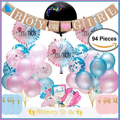 Gender Reveal Party Supplies,  Baby Shower Boy or Girl Reveal Kit (94 Pieces) - Boy Baby Shower Kits