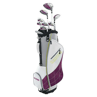 Wilson Ultra Womens Right Handed Super Long Golf Club Set with Cart Bag, Plum