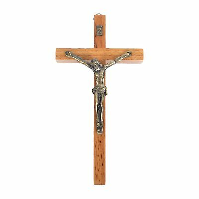 - Vintage Wooden Metal Wall Cross Crucifix Holy Religious Carved Christ Natural
