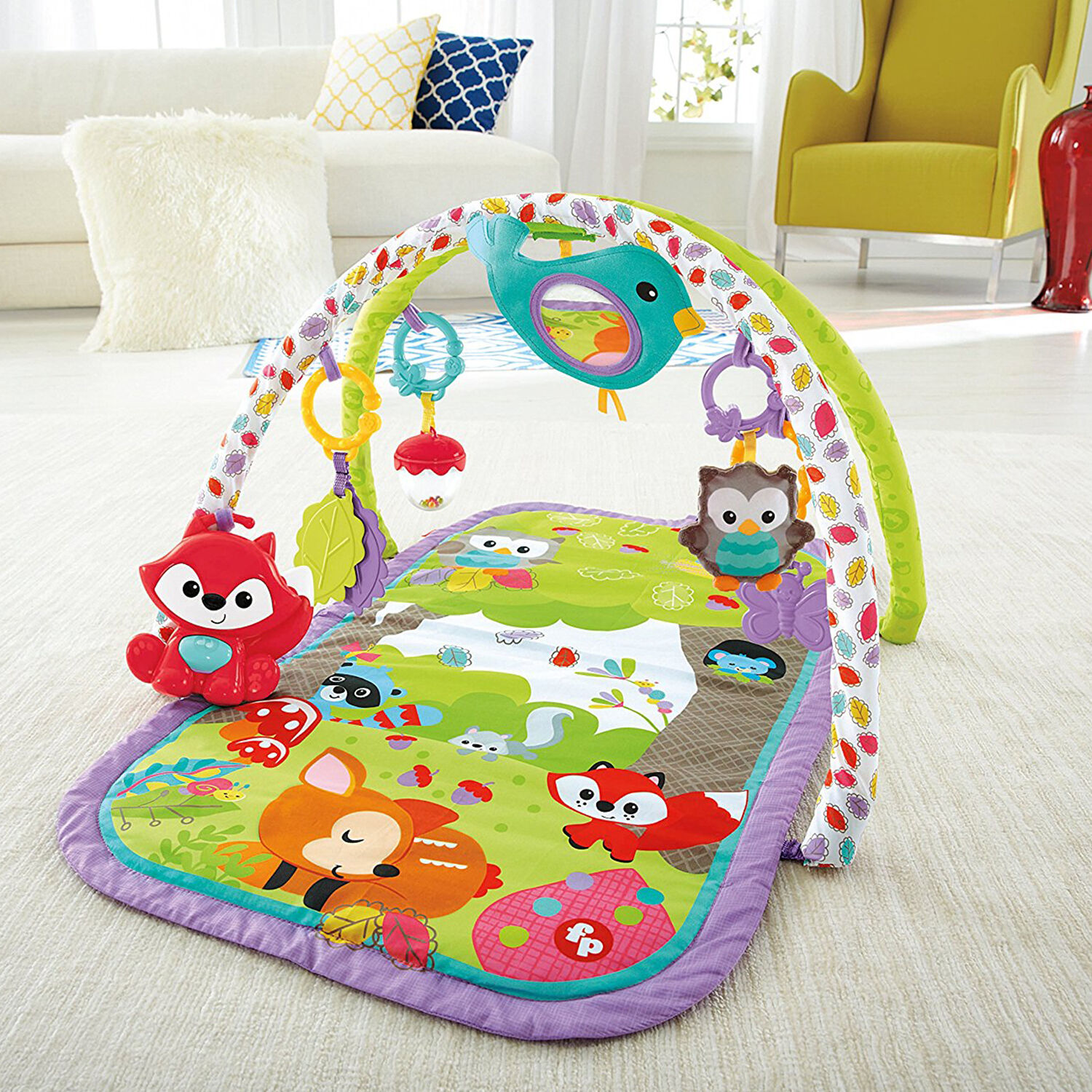 Baby Play Mat Activity Gym Soft Floor Musical Fox Toy Woodland