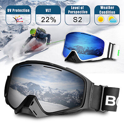 For Men Women Anti-Fog UV Protection Over Glasses Ski Snowboard Goggles + (Anti Fog Cloth For Glasses)