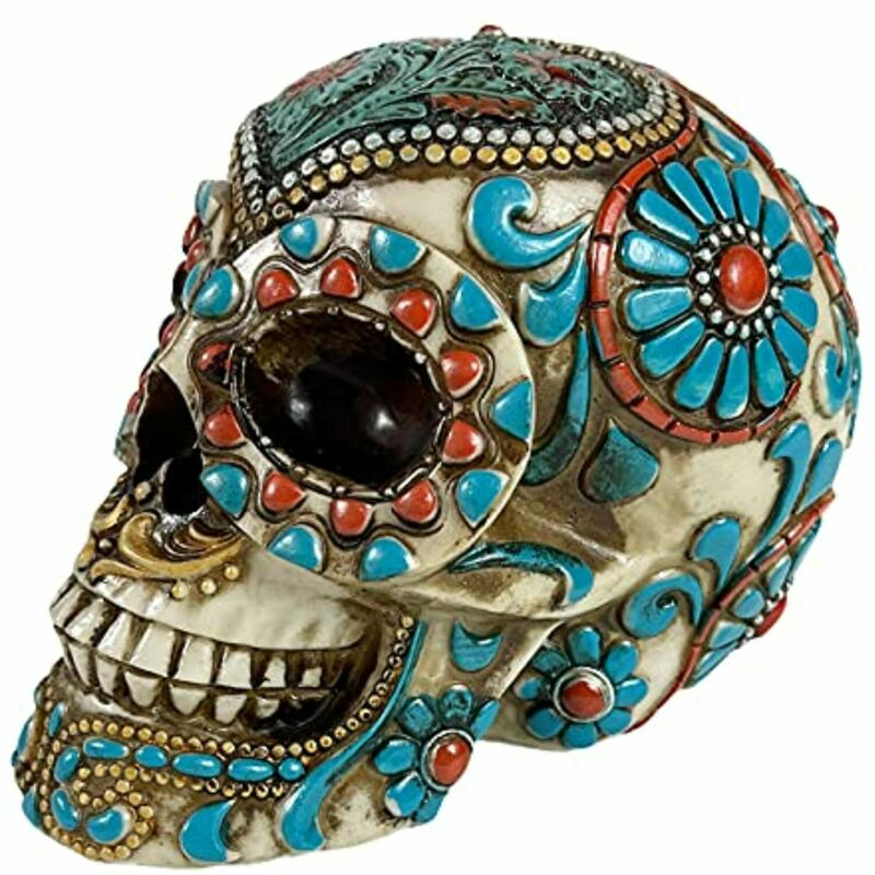 Urbalabs Day of The Dead DOD Gothic Floral Rose Flower Sugar Skull Decor Statue