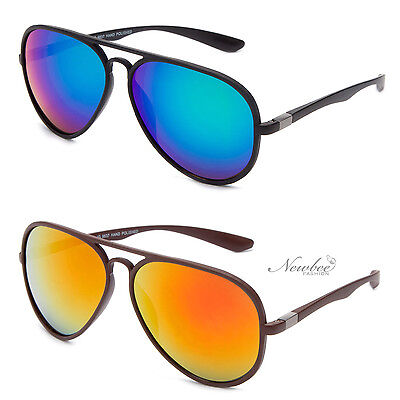 Flexible Frame Aviators with Flash Lens Blue Green Orange Yellow (Blue Flash Aviators)