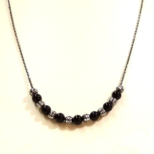 5 pcs Black Sterling Silver 925 Cable Chain 4mm ONYX & Silver Bead Necklaces LOT