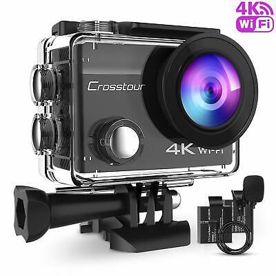 Crosstour 4K 16MP Action Cam WIFI Subacquea Camera con Microfono Esterno Anti...
