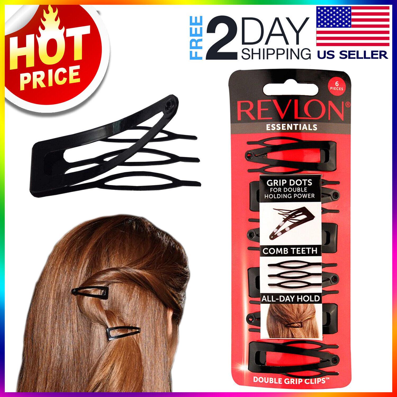 Revlon Double Grip Black Hair Clips, 6 count