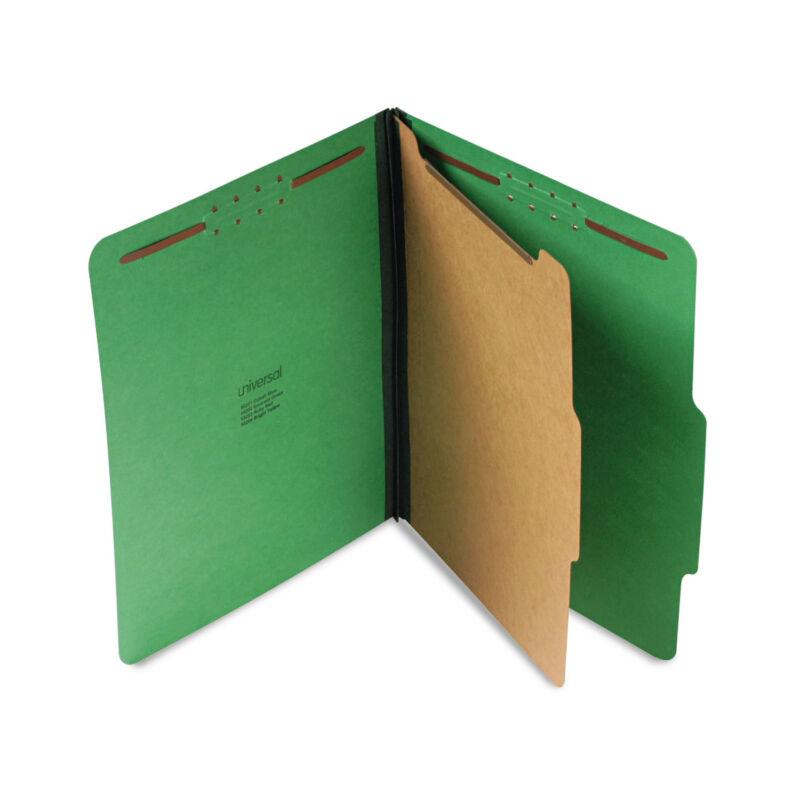 Universal Pressboard Folder Letter Four-Section Emerald Green 10/Box 10202