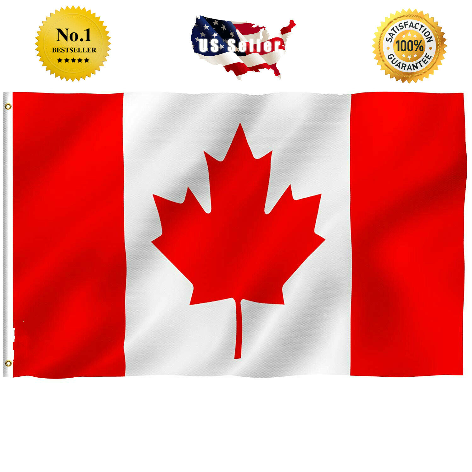3x5 ft Canada Flag Polyester Canadian Maple Leaf Banner Indo