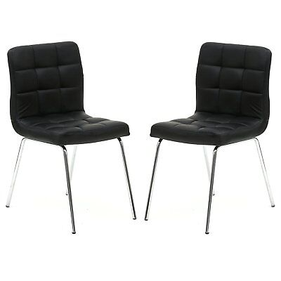 Black Leather Metal Leg Dinning Living Room Chairs Guest Chairs Set of 2 ()