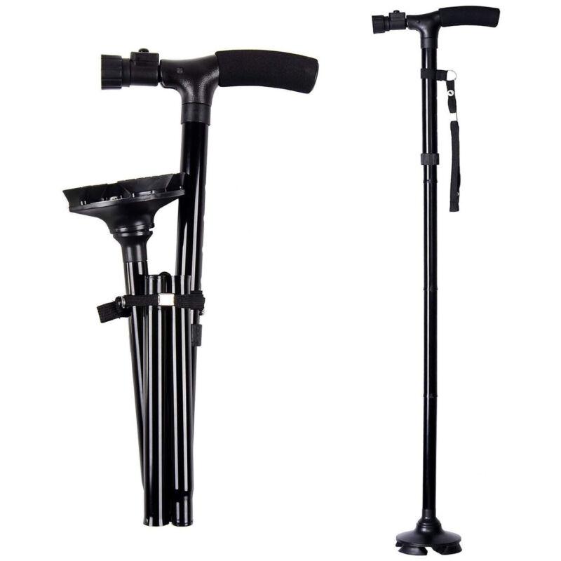 LED Walking Stick HurryCane All Terrain Pivoting Base Folding Cane Travel Black
