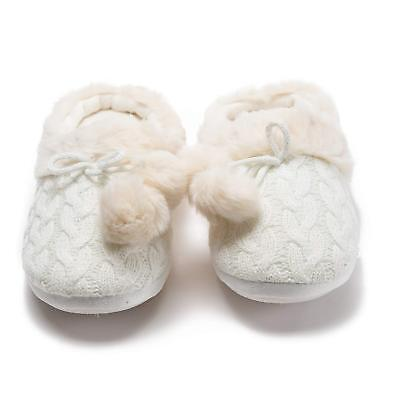 (Women's Faux Fur Humble Cable Knit Clog Slippers with Bow and Pom's nwt $28 Tags)