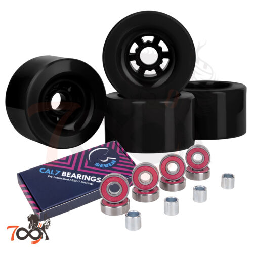 Cal 7 97mm 78A Longboard Flywheel Skateboard Black Wheels + ABEC-7 Bearings