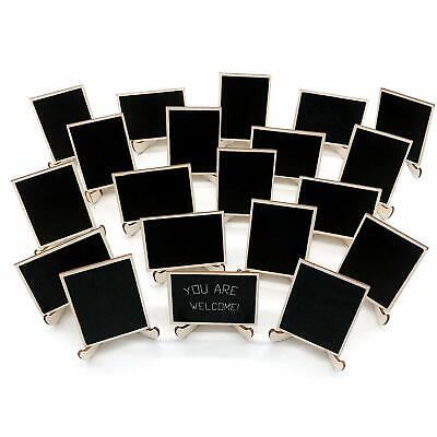 20 Pack Wood Mini Chalkboards Signs With Support Easels, Place Cards, Small Rect