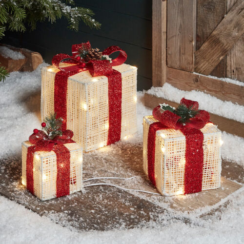 Set of 3 Lighted LED Christmas Gift Box Indoor & Outdoor Decorations