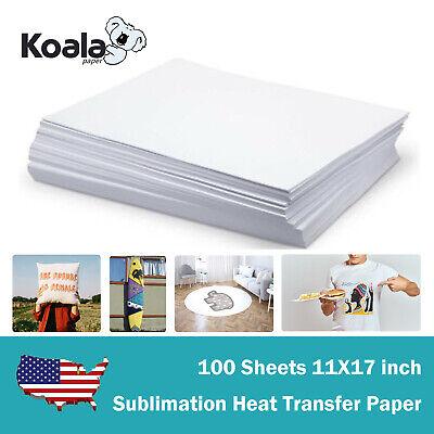 100 Sheets 11x17 Dye Sublimation Ink Heat Transfer Paper Blank Mug Plate T-shirt