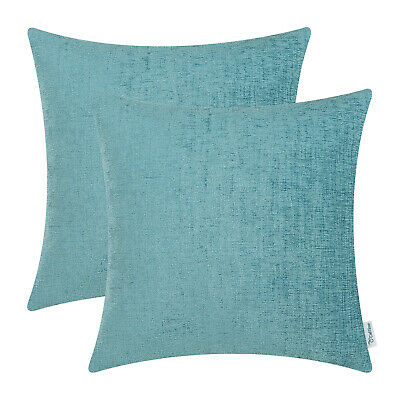 2Pcs Teal Cushion Covers Pillow Shell Solid Dyed Soft Home Chenille Decor 22x22""