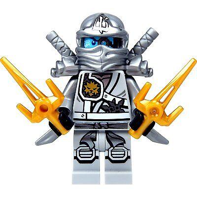 LEGO NINJAGO MINIFIGURE ZANE TITANIUM NINJA GOLD SAI SILVER KATANA SWORDS 70748