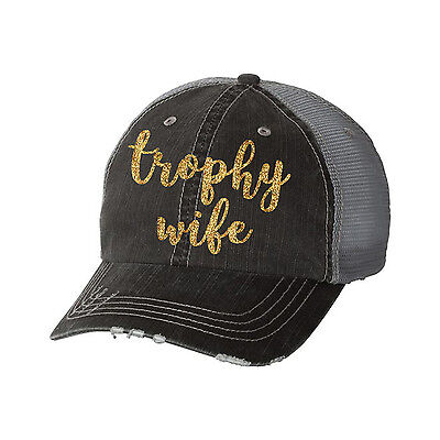 Trophy Wife Distressed Glitter Ladies Trucker Hat - Funny