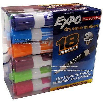 18 Expo Low Odor Dry Erase White Board Markers Assorted Colors Expo2 Whiteboard
