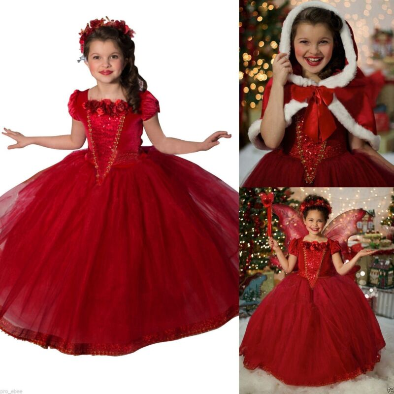 US Kids Girls Cute Fantasy Dresses Costume Princess Party Fancy Dress with Cape