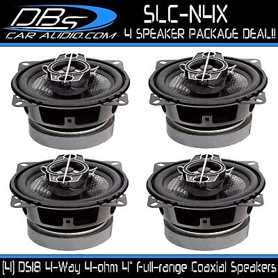 """Set of 2 DS18 SLC-N4X 4/"""" 4 Way Car Stereo Speakers 280W Max 4 ohm Coaxials"""