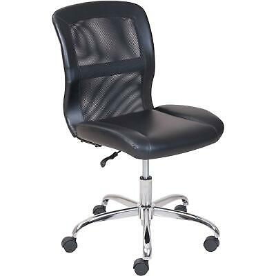 Vinyl Mesh Executive Armless Back Office Computer Desk Chair Black Heavy Duty