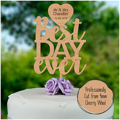 Best DAY ever PERSONALISED Wooden Wedding Cake Topper Decoration Mr &