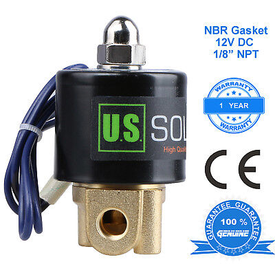 U. S. Solid 18 12v Dc Brass Electric Solenoid Valve Normally Closed Nbr