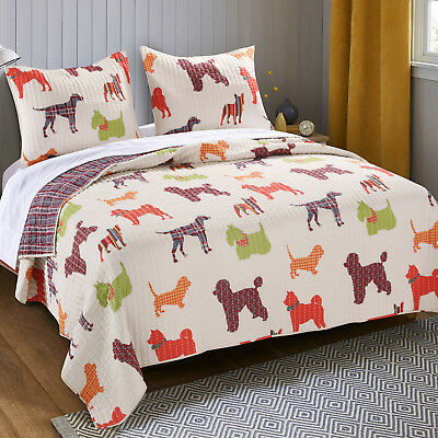 Queen Quilt Set Dog Lovers Poodle Lab Husky Chihuahuas Bedding