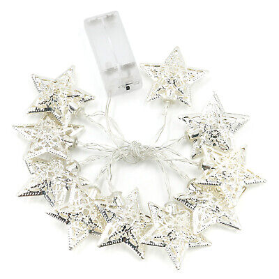 Silver Christmas Lights (TRIXES Set of 10 Enchanting Christmas Silver Star Indoor LED Lights )