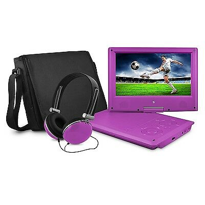 "Ematic 9"" Swivel, Purple, Portable DVD Player with Matching Headphones & Bag New"