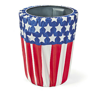 PATRIOTIC Stars & Stripes Plastic Trash Can Cover 4th of July Party DECORATION - 4th Of July Party