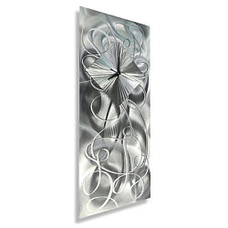 Silver Modern Metal Wall Clock Art Hanging Sculpture Abstract Decor Jon Allen