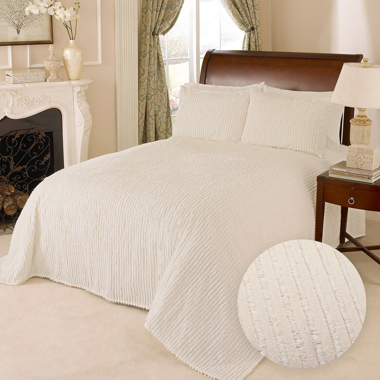 100% Cotton Tufted Chenille Stripe Bedspread Bedding Twin Full Queen King, Ivory Bedding