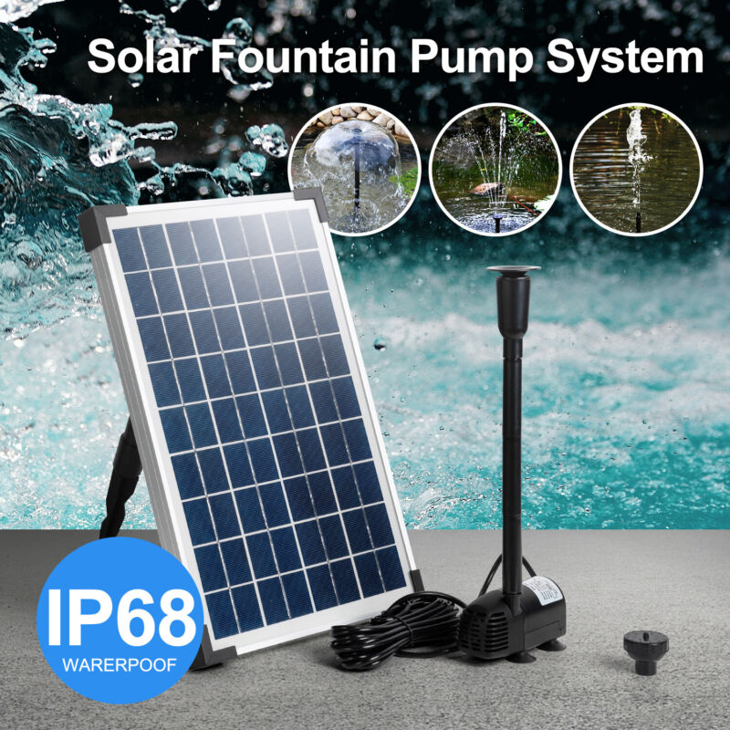 Solar Water Panel Power Fountain Pump System Kit For Pool Garden Submersible