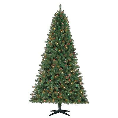 Artificial Christmas Tree Duncan Fir Pre-Lit 7 ft Quick Set Multi-Color Lights ()